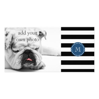 Black White Stripes Pattern, Navy Blue Monogram Photo Card