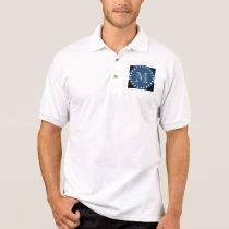 Black White Stripes Pattern, Navy Blue Monogram Polo Shirt