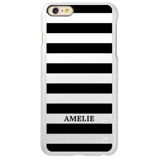 Black White Stripes Pattern {pick your color} Incipio Feather Shine iPhone 6 Plus Case