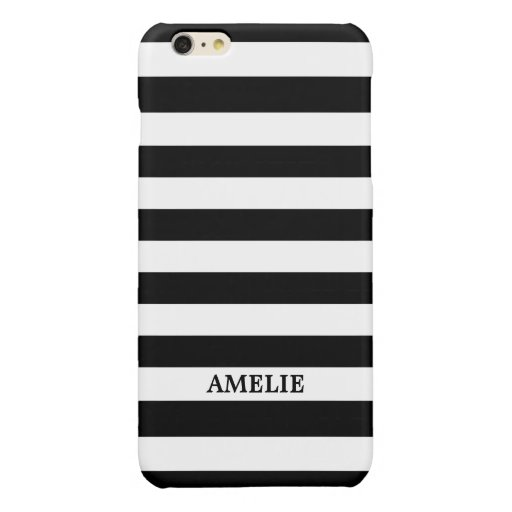 Black White Stripes Pattern {pick your color} Glossy iPhone 6 Plus Case