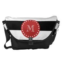 Black White Stripes Pattern, Red Monogram Courier Bag
