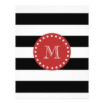 Black White Stripes Pattern, Red Monogram Flyer