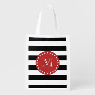Black White Stripes Pattern, Red Monogram Grocery Bag