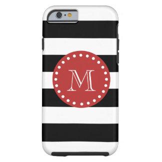 Black White Stripes Pattern, Red Monogram iPhone 6 Case