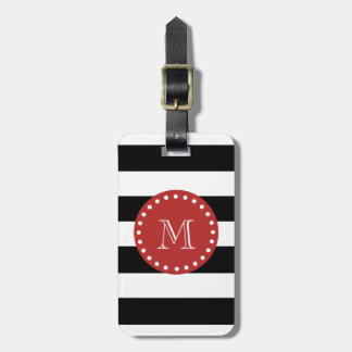 Black White Stripes Pattern, Red Monogram Luggage Tag