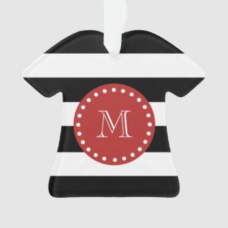 Black White Stripes Pattern, Red Monogram Ornament