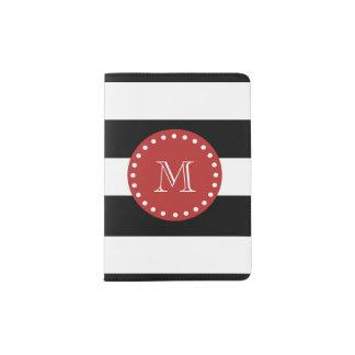 Black White Stripes Pattern, Red Monogram Passport Holder