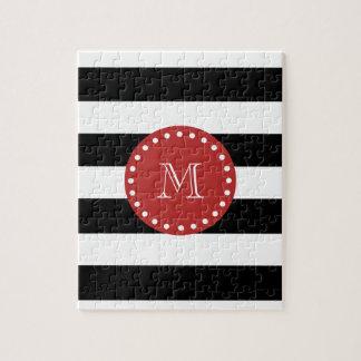 Black White Stripes Pattern, Red Monogram Puzzle