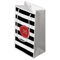Black White Stripes Pattern, Red Monogram Small Gift Bag