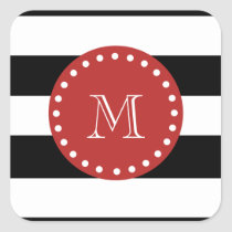 Black White Stripes Pattern, Red Monogram Square Sticker