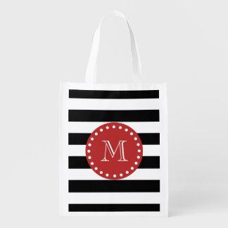 Black White Stripes Pattern, Red Monogram Grocery Bags