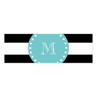 Black White Stripes Pattern, Teal Monogram Business Card Template