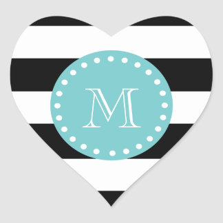 Black White Stripes Pattern, Teal Monogram Heart Sticker