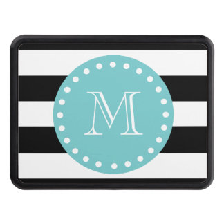 Black White Stripes Pattern, Teal Monogram Hitch Cover