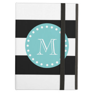 Black White Stripes Pattern Teal Monogram Cover For iPad Air