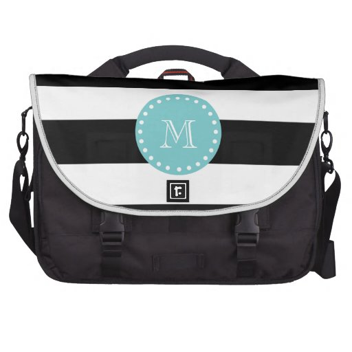 Black White Stripes Pattern, Teal Monogram Laptop Bag