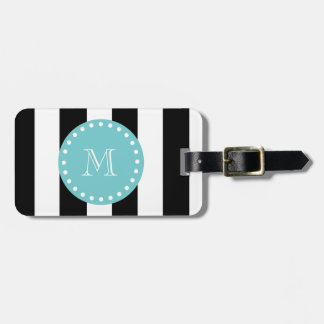 Black White Stripes Pattern, Teal Monogram Luggage Tag