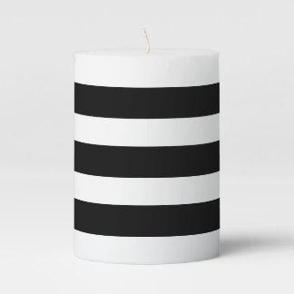 Black & White Stripes Pillar Candle