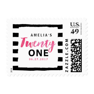 Black & White Stripes Pink 21st Birthday Postage