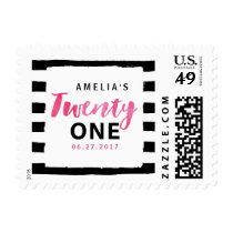 Black & White Stripes Pink 21st Birthday Postage