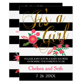 Black & White Stripes | Pink Floral | Baby Shower Card