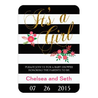 Black & White Stripes   Pink Floral   Baby Shower Card