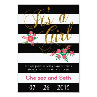 Black & White Stripes | Pink Floral | Baby Shower 3.5x5 Paper Invitation Card