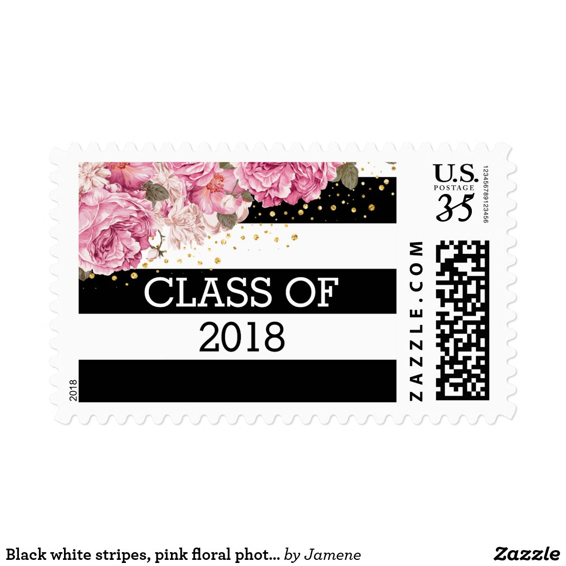 Black white stripes, pink floral photo graduation postage stamps