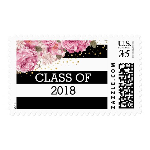 Black white stripes, pink floral photo graduation postage stamps