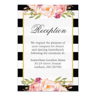 Black White Stripes Pink Floral Wedding Reception Card
