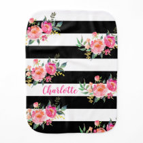 Black & White Stripes Pink Flowers Burp Cloth