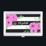 """Black White Stripes Pink Ranunculus Floral Business Card Case<br><div class=""""desc"""">This modern design was created from watercolor ranunculus (or Persian buttercups) placed on a black and white stripe background.</div>"""