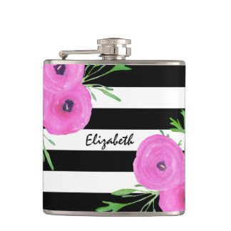 Black White Stripes Pink Ranunculus Floral Hip Flask