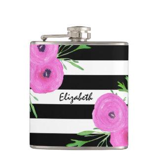 Black White Stripes Pink Ranunculus Floral Hip Flask