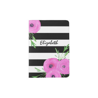 Black White Stripes Pink Ranunculus Floral Passport Holder
