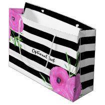 Black White Stripes Pink Ranunculus Floral Pattern Large Gift Bag