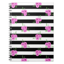 Black White Stripes Pink Ranunculus Floral Pattern Notebook