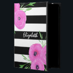 "Black White Stripes Pink Ranunculus Floral Powis iPad Air 2 Case<br><div class=""desc"">This modern design was created from watercolor ranunculus (or Persian buttercups) placed on a black and white stripe background.</div>"