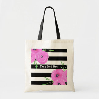 Black White Stripes Pink Ranunculus Floral Tote Bag
