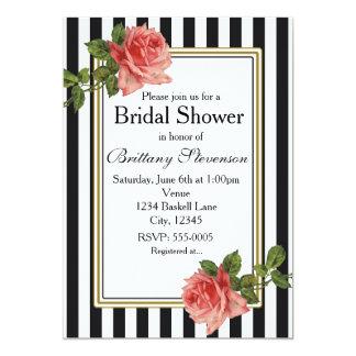 Black White Stripes Pink Roses Vintage Invitation