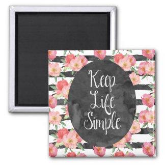 Black White Stripes Pink Watercolor Floral Magnet