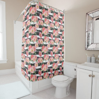 Black White Stripes Pink Watercolor Floral Shower Curtain