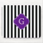Black White Stripes, Purple Label Monogram Mouse Pads