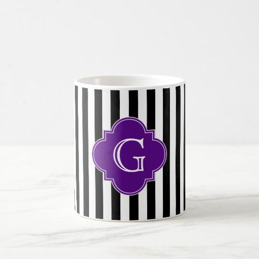Black White Stripes, Purple Label Monogram Mug