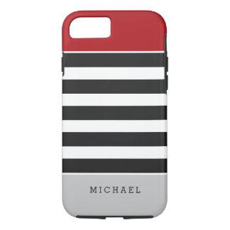 Black White Stripes Red Gray Monogram Name iPhone 7 Case