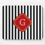 Black White Stripes, Red Label Monogram Mouse Pad