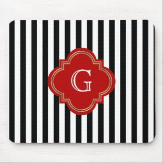 Black White Stripes, Red Label Monogram Mouse Pad