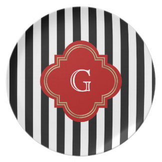 Black White Stripes Red Label Monogram Party Plates