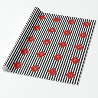 Black White Stripes, Red Label Monogram Wrapping Paper