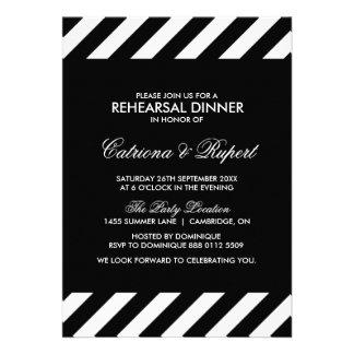 Black & White Stripes Rehearsal Dinner Invitation